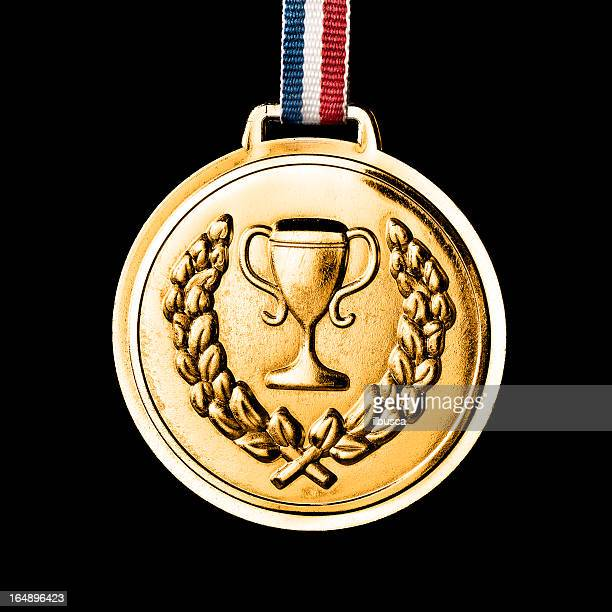 . medals isolated on black: gold - olympic games stock pictures, royalty-free photos & images