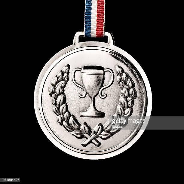 . medals isolated on black: silver - silver medalist stock pictures, royalty-free photos & images