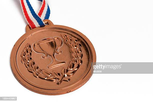 . medals isolated on white: bronze - bronze medalist stock pictures, royalty-free photos & images