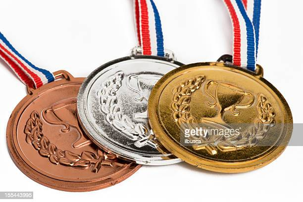 . medals isolated on white - the olympic games stock pictures, royalty-free photos & images