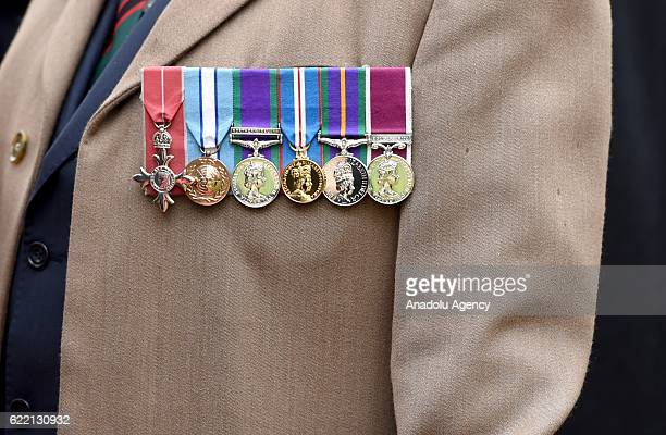 Medals on war veterans at the Field of Remembrance at Westminster Abbey on November 10th 2016 in London England