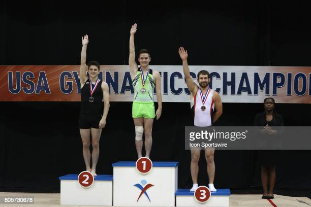 Medals were awarded in the doublemini trampoline Gold Alex Renkert Silver Austin Nacey and Bronze Trey Katz during the USA Gymnastic Championships at...