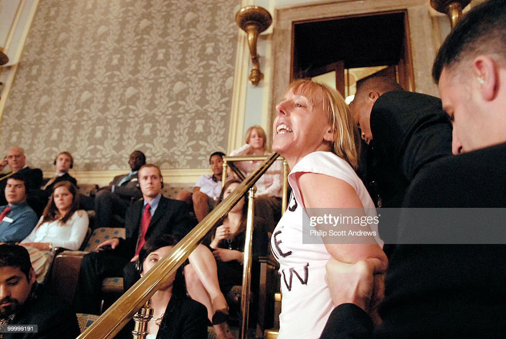 Medea Benjamin, cofounder of the womens activism group Code Pink, protests the speach of Prime Minister Nuri al-Malikiwith a call to the end of the Iraq war.