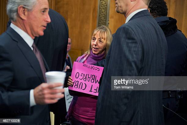 Medea Benjamin of Code Pink talks with Sen Bob Corker before a Senate Foreign Relations subcommittee hearing in Dirksen Building titled...