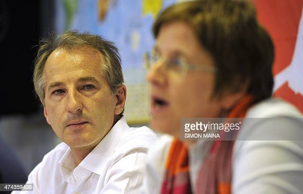 Medecins Sans Frontieres Head of Mission for South Sudan Paul Critchley listens to MSF Deputy Program Manager for South Sudan Johanna Van Peteghem...