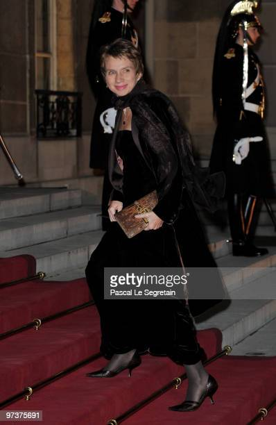 Medef President Laurence Parisot arrives to attend a state dinner honouring visiting Russian President Dmitry Medvedev at Elysee Palace on March 2...