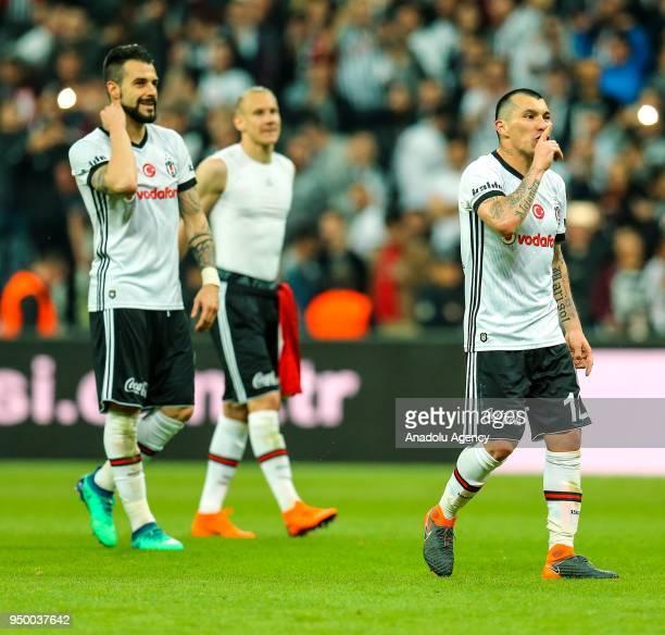 Medel and Negredo of Besiktas celebrate after winning Turkish Super Lig soccer match against Evkur Yeni Malatyaspor at Vodafone Park in Istanbul...