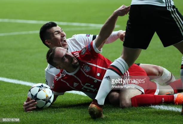 Medel of Besiktas in action against Franck Ribery of Bayern Munich during the UEFA Champions League Round 16 return match between Besiktas and FC...