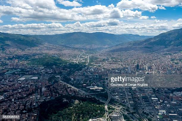 Medellin seen from the air: Cerro Nutibara and downtown with the Coltejer building
