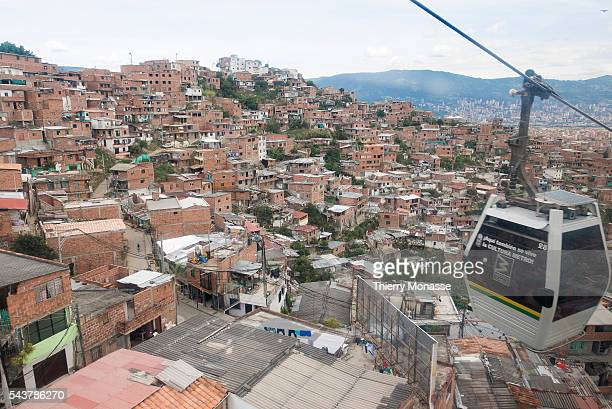 Medellín Republic of Colombia August 25 2015 The Metrocable of Medellin is the first Cable Propelled Transit system in South America Metrocable is...