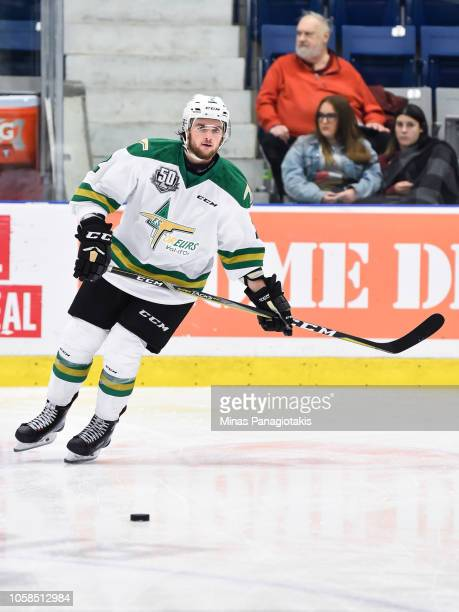 Mederick Racicot of the Valdu2019Or Foreurs skates in the warmup prior to the QMJHL game against the BlainvilleBoisbriand Armada at Centre...