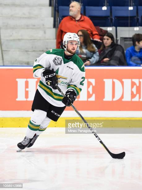 Mederick Racicot of the Valdu2019Or Foreurs skates the puck in the warmup prior to the QMJHL game against the BlainvilleBoisbriand Armada at Centre...