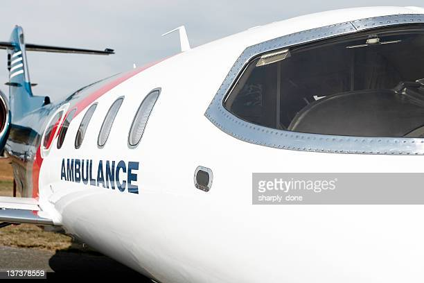 xxl medevac air ambulance jet airplane close-up - medevac stock photos and pictures