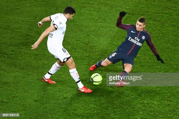 Medhi Abeid of Dijon and Marco Verratti of PSG during the Ligue 1 match between Paris Saint Germain and Dijon FCO at Parc des Princes on January 17...