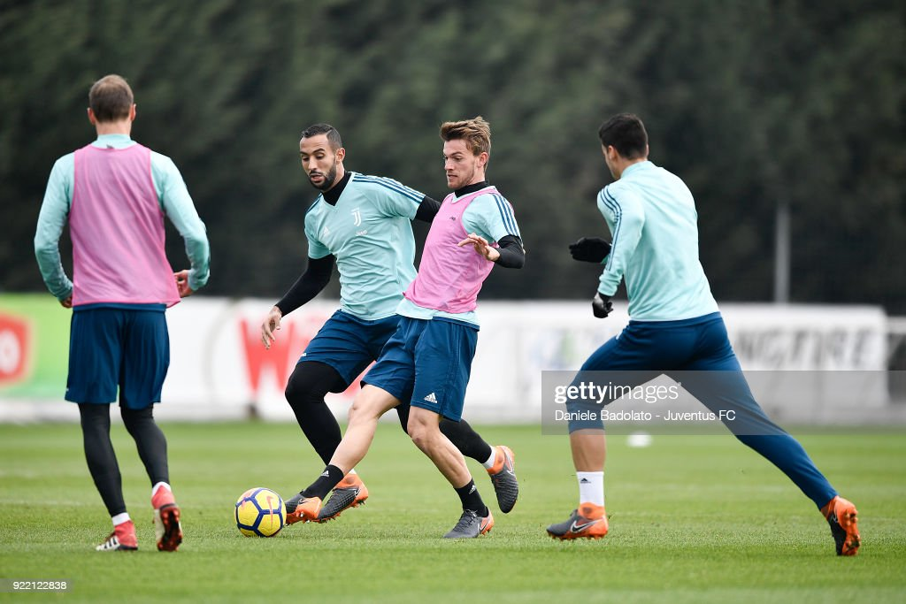 Medhi Benatia and Daniele Rugani at Juventus Center Vinovo on February 21, 2018 in Vinovo, Italy.