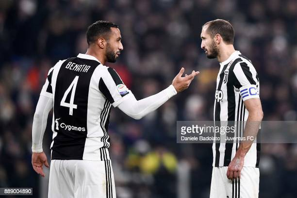Medhi Benatia and Giorgio Chiellini of Juventus during the Serie A match between Juventus and FC Internazionale on December 9 2017 in Turin Italy