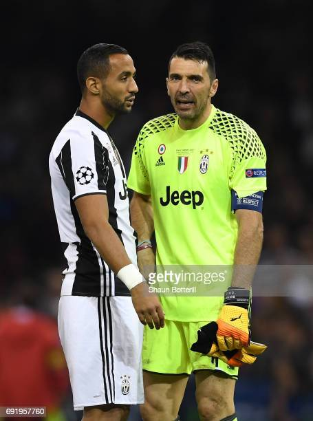 Medhi Benatia of Juventus and Gianluigi Buffon of Juventus are dejected after the UEFA Champions League Final between Juventus and Real Madrid at...