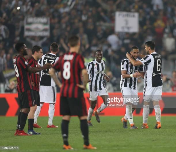 Medhi Benatia of Juventus celebrates after scoring the team's third goal during the TIM Cup Final between Juventus and AC Milan at Stadio Olimpico on...