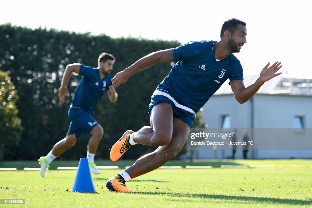 Medhi Benatia of Juventus during a training session on July 17, 2017 in Vinovo, Italy.
