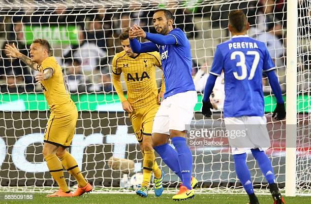 Medhi Benatia of Juventus FC celebrates after scoring a goal during the 2016 International Champions Cup match between Juventus FC and Tottenham...