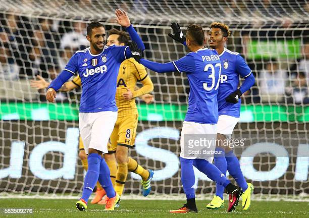 Medhi Benatia of Juventus FC celebrates after scoring a goal during the 2016 International Champions Cup match between Juventus FC and Tottenham...
