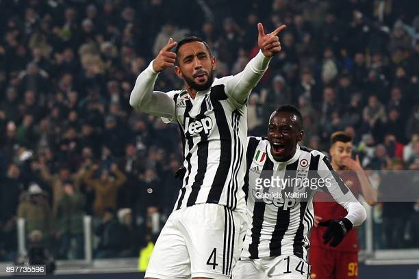 Medhi Benatia of Juventus FC celebrates after scoring a goal during the serie A match between Juventus and AS Roma at the Alliannz Stadium on...