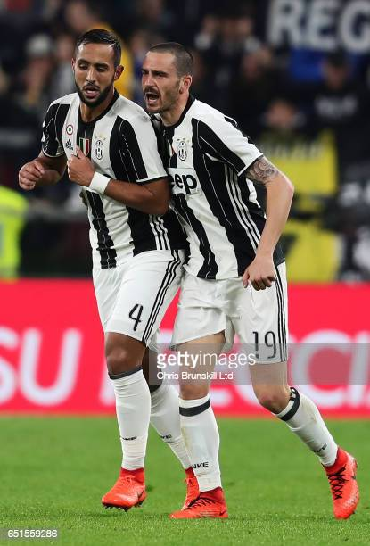 Medhi Benatia of Juventus FC celebrates scoring the first goal to make the score 10 with Leonardo Bonucci during the Serie A match between Juventus...