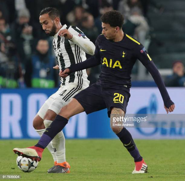 Medhi Benatia of Juventus FC competes for the ball with Dele Alli of Tottenham Hotspur during the UEFA Champions League Round of 16 First Leg match...