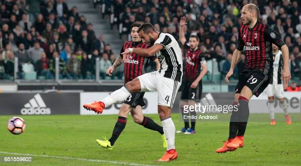 Medhi Benatia of Juventus FC scores the opening goal during the Serie A match between Juventus FC and AC Milan at Juventus Stadium on March 10 2017...