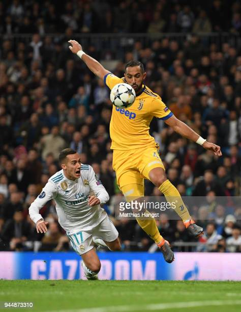 Medhi Benatia of Juventus fouls Lucas Vazquez of Real Madrid leading to a penalty being awarded during the UEFA Champions League Quarter Final Second...