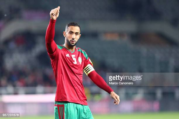 Medhi Benatia of Morocco greet fans at the end of the international friendly match between Serbia and Morocco Morocco wins 21 over Serbia