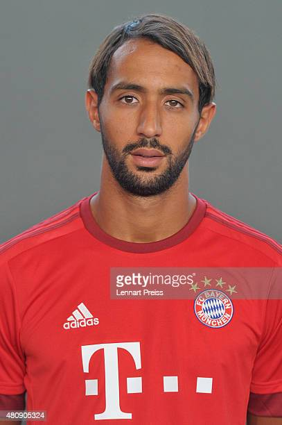 Medhi Benatia poses during the team presentation of FC Bayern Muenchen at Bayern's training ground Saebener Strasse on July 16 2015 in Munich Germany