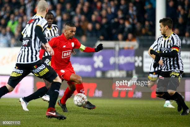 Medhi Carcela midfielder of Standard Liege and Javier Espigares Francisco Martos defender of Sporting Charleroi during the Jupiler Pro League match...