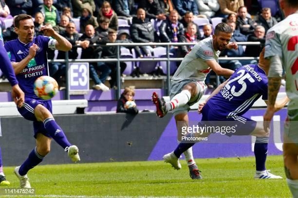 Medhi Carcela midfielder of Standard Liege and Sven Kums midfielder of Anderlecht pictured during the Jupiler Pro League match between RSC Anderlecht...