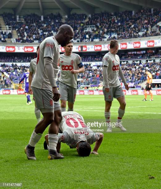 Medhi Carcela midfielder of Standard Liege celebrates with teammates after scoring pictured during the Jupiler Pro League match between RSC...