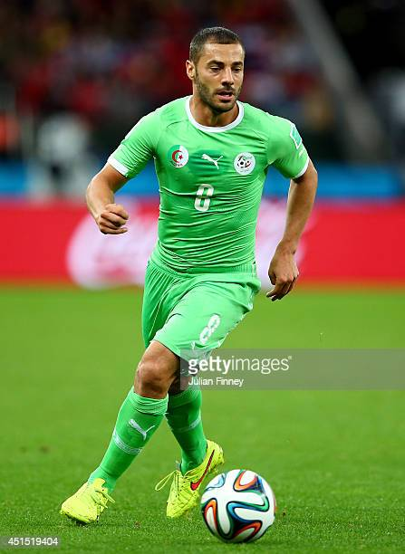 Medhi Lacen of Algeria controls the ball during the 2014 FIFA World Cup Brazil Round of 16 match between Germany and Algeria at Estadio BeiraRio on...
