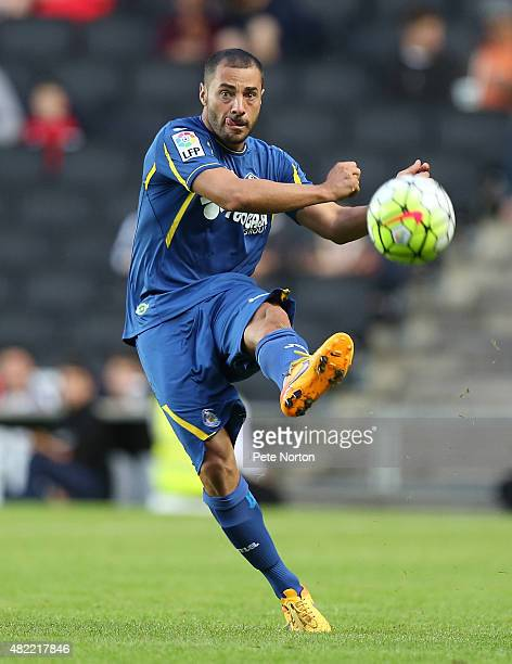 Medhi Lacen of Getafe CF in action during the PreSeason Friendly match between MK Dons and Getafe CF at Stadium mk on July 28 2015 in Milton Keynes...