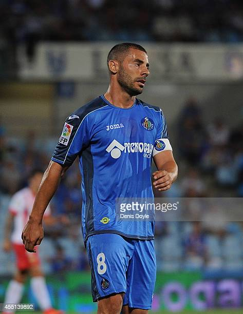 Medhi Lacen of Getafe CF looks on during the La Liga match between Getafe CF and UD Almeria at Coliseum Alfonso Perez on August 29 2014 in Getafe...
