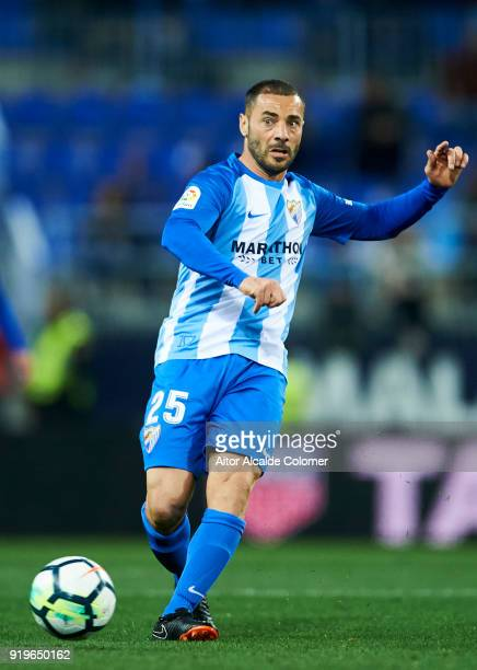 Medhi Lacen of Malaga CF controls the ball during the La Liga match between Malaga and Valencia at Estadio La Rosaleda on February 17 2018 in Malaga...