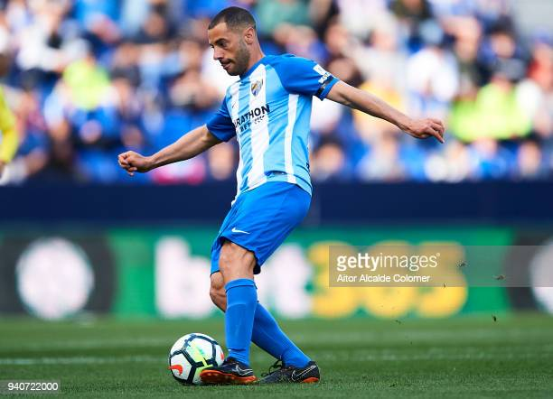 Medhi Lacen of Malaga CF in action during the La Liga match between Malaga and Villarreal at Estadio La Rosaleda on April 1 2018 in Malaga Spain
