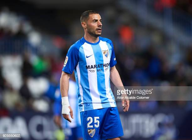Medhi Lacen of Malaga CF looks on during the La Liga match between Malaga and Sevilla at Estadio La Rosaleda on February 28 2018 in Malaga Spain