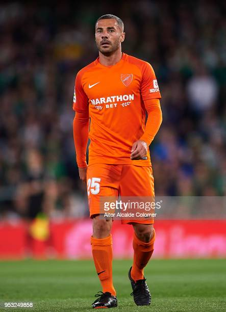 Medhi Lacen of Malaga CF looks on during the La Liga match between Real Betis and Malaga at Estadio Benito Villamarin on April 30 2018 in Seville...