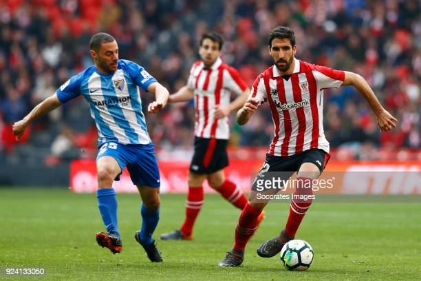Medhi Lacen of Malaga CF Raul Garcia of Athletic Bilbao during the La Liga Santander match between Athletic de Bilbao v Malaga at the Estadio San...