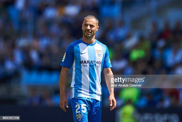 Medhi Lacen of Malaga CF reacts during the La Liga match between Malaga CF and Deportivo Alaves at Estadio La Rosaleda on May 6 2018 in Malaga Spain