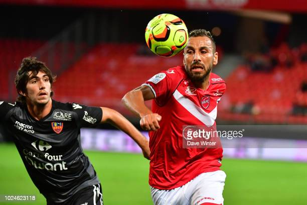 Medhy Guezoui of Valenciennes and Dominique Guidi of Gazelec Ajaccio during the French Ligue 2 match between Valenciennes and Gazelec Ajaccio at...