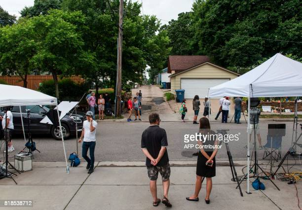 Media and community members gather at a memorial for Justine Damond on July 18 2017 in Minneapolis Minnesota Scrutiny intensified into the death of...