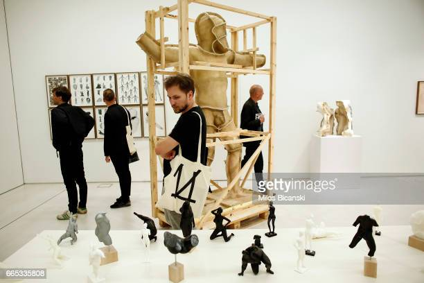 Media and professionals of the 14 Documenta contemporary arts exhibition attend a preview of Documenta 14 at the EMST National Museum of...