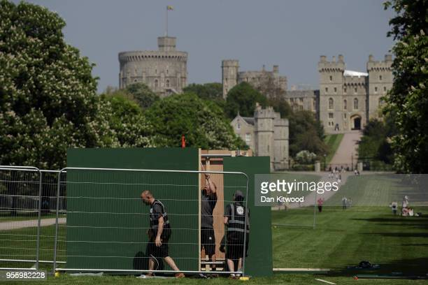 Media and public facilities are erected along the Long Walk at Windsor Castle as it prepares for the wedding of Prince Harry and his fiance US...