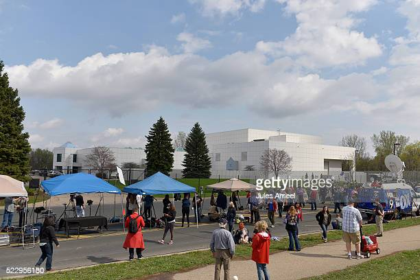Media and supporters gather at Paisley Park on April 21 2016 in Chanhassen Minnesota Prince died earlier today at his Paisley Park compound at the...
