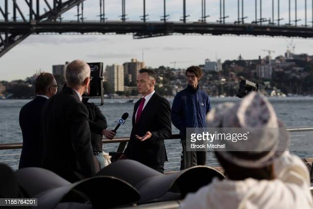 Media arrive for the public memorial for Bob Hawke at The Sydney Opera House on June 14 2019 in Sydney Australia Robert James Lee Hawke AC also known...